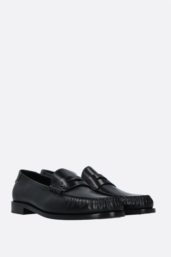 SAINT LAURENT: Monogram-detailed smooth leather loafers Color Black_2