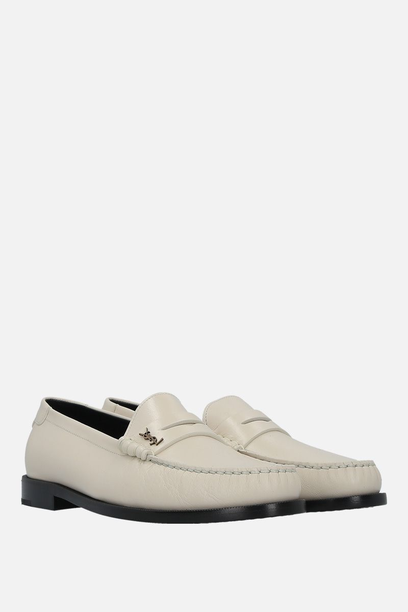 SAINT LAURENT: Monogram-detailed smooth leather loafers Color White_2