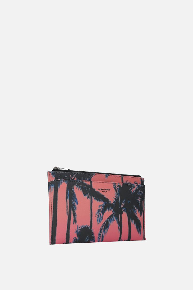 SAINT LAURENT: porta banconote con zip in nylon stampa Palm_2