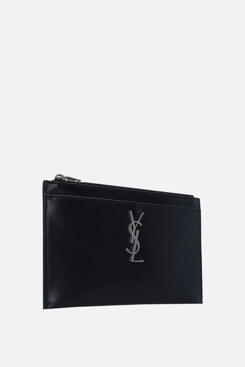 SAINT LAURENT: Monogram bill pouch in smooth leather Color Black_2