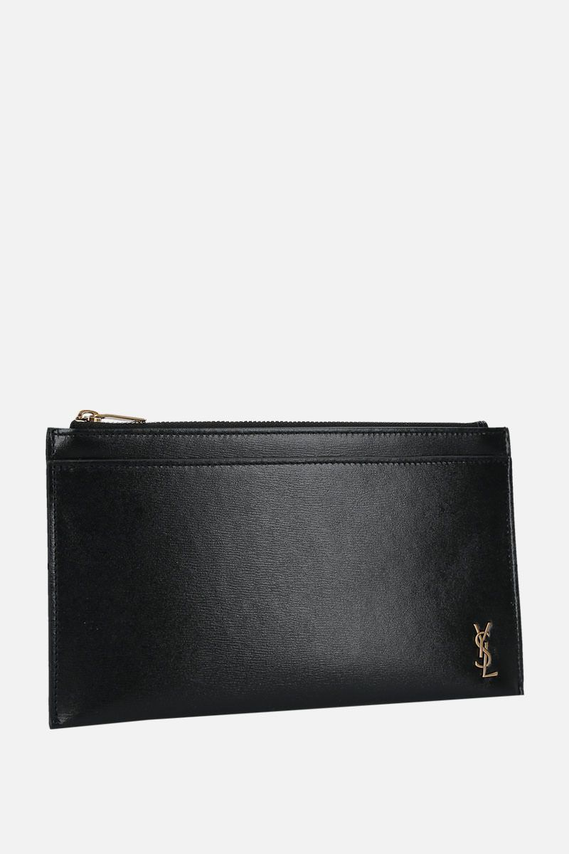 SAINT LAURENT: Monogram small bill pouch in shiny leather Color Black_2
