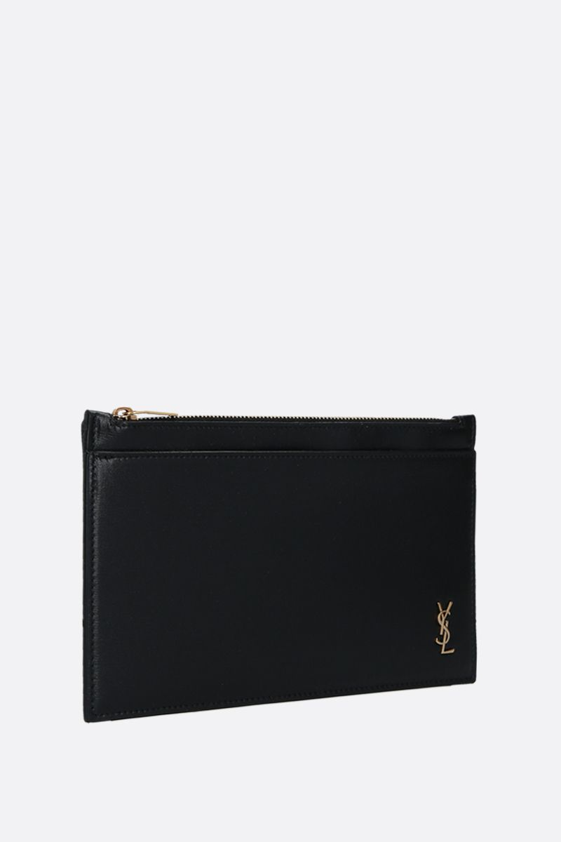 SAINT LAURENT: Monogram mini shiny leather pouch Color Black_2