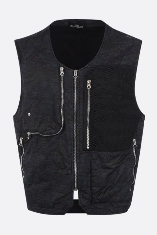 STONE ISLAND SHADOW PROJECT: DPM Ripstop Devorè fabric vest Color Black_1