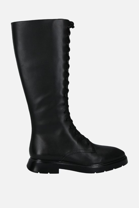 STUART WEITZMAN: McKenzee smooth leather combat boots Color Black_1