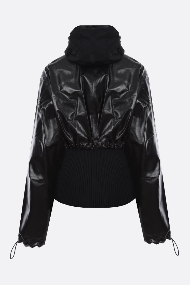 BOTTEGA VENETA: shiny leather full-zip cardigan with removable cardigan Color Black_2