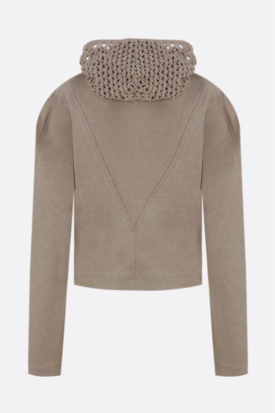 BOTTEGA VENETA: crochet hood stretch linen full-zip jacket Color Neutral_2