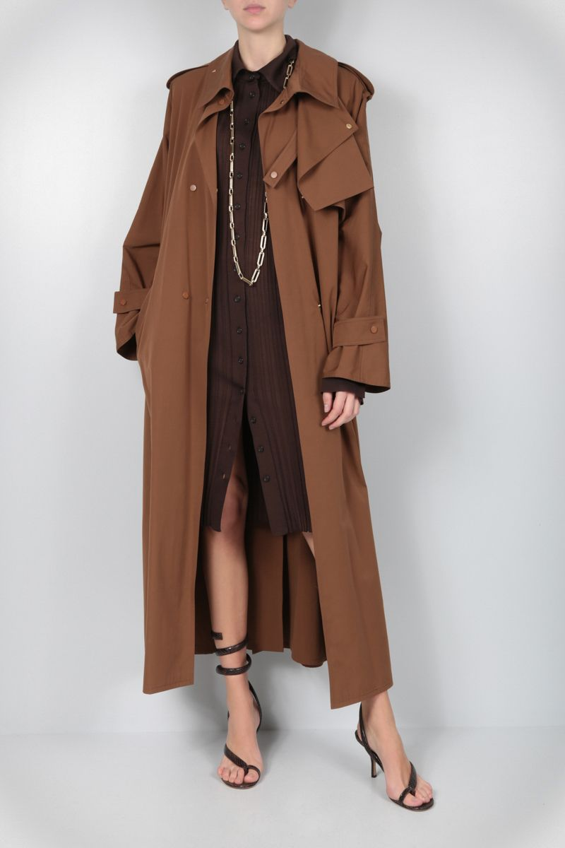 BOTTEGA VENETA: technical cotton double-breasted trench coat Color Brown_2