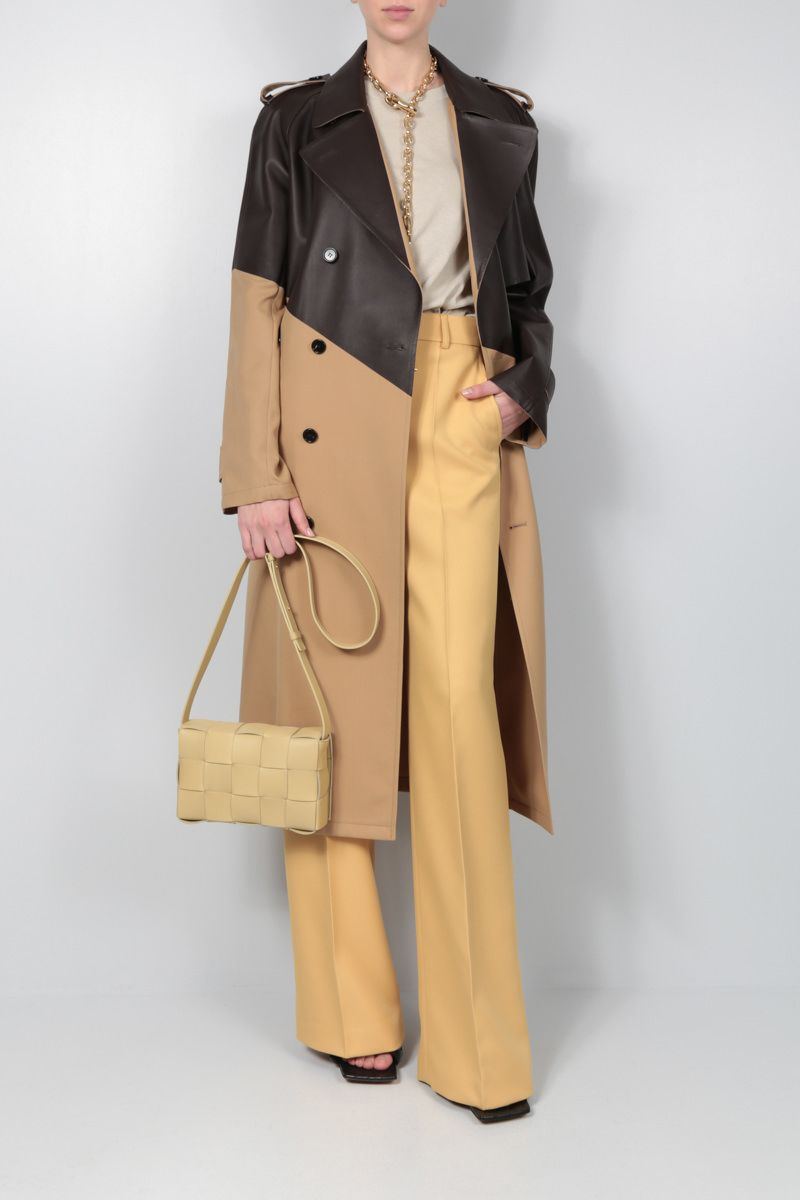 BOTTEGA VENETA: wool and leather double-breasted trench coat Color Brown_2