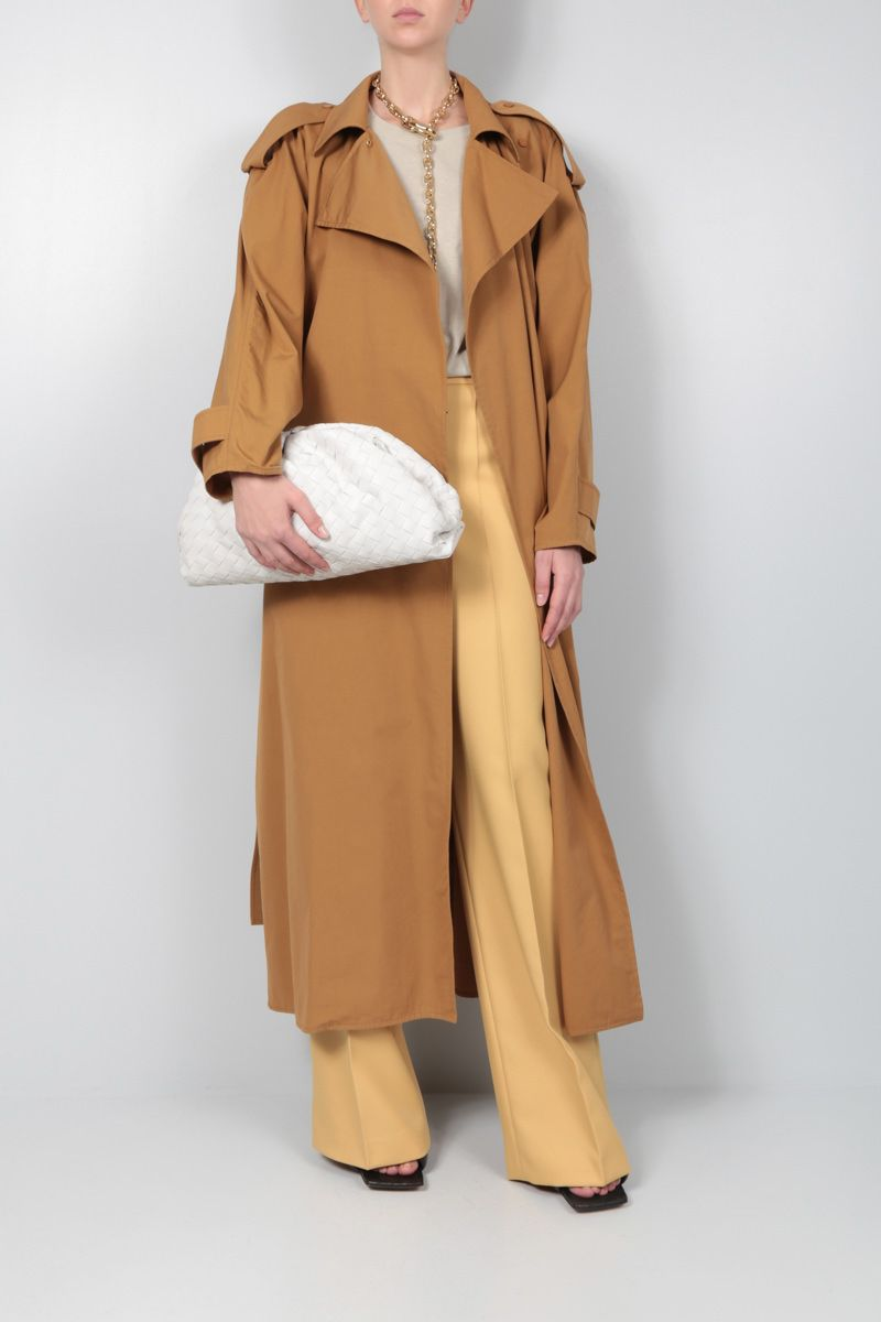 BOTTEGA VENETA: compact cotton wrap trench coat Color Brown_2