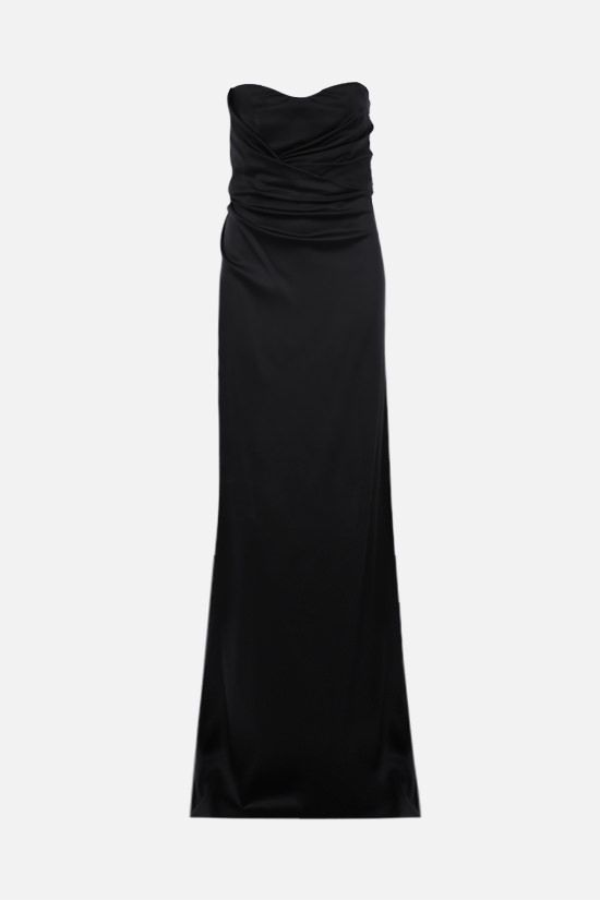 ALBERTA FERRETTI: shiny crepe bustier dress Color Black_1
