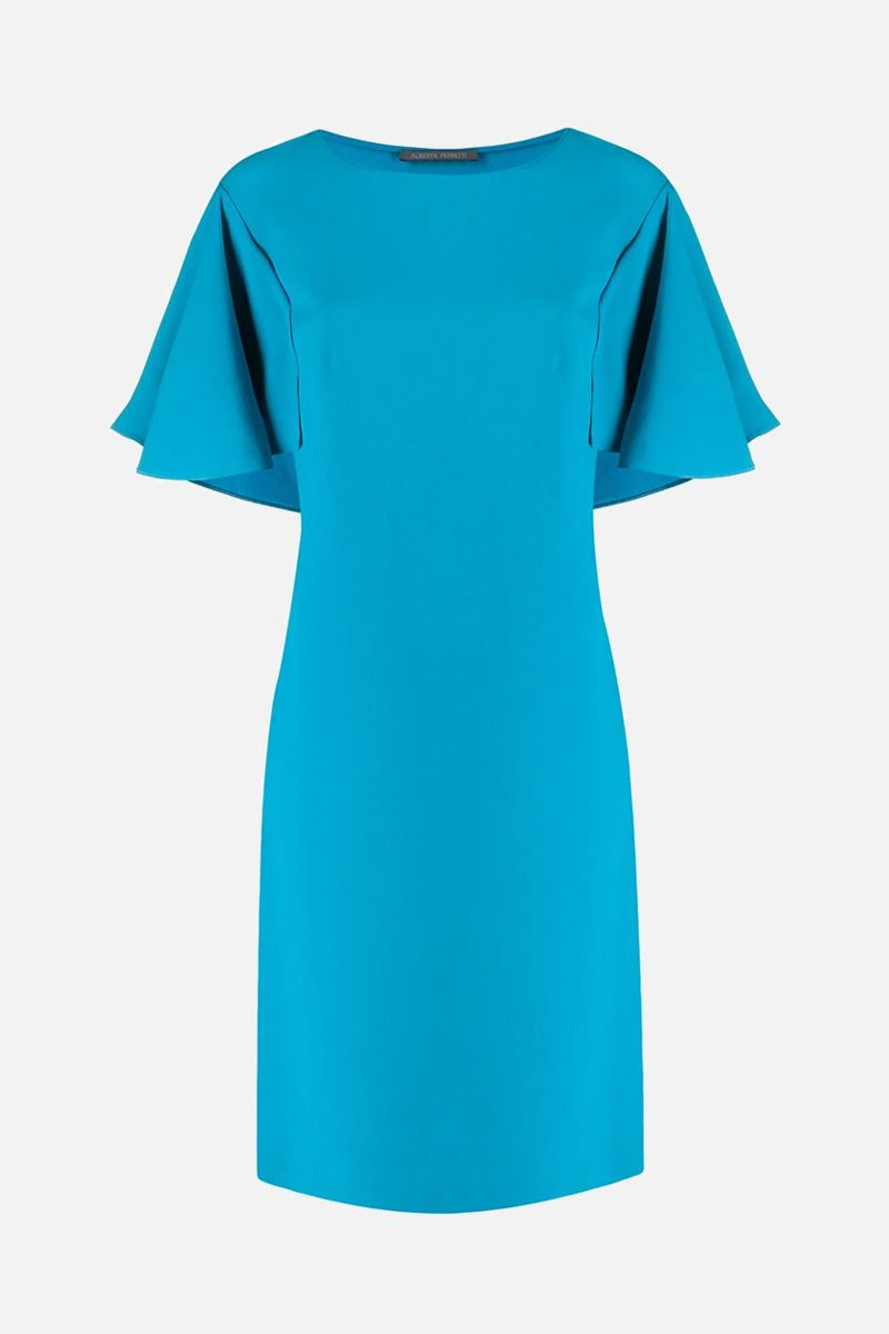 ALBERTA FERRETTI: crepe midi dress Color Blue_1