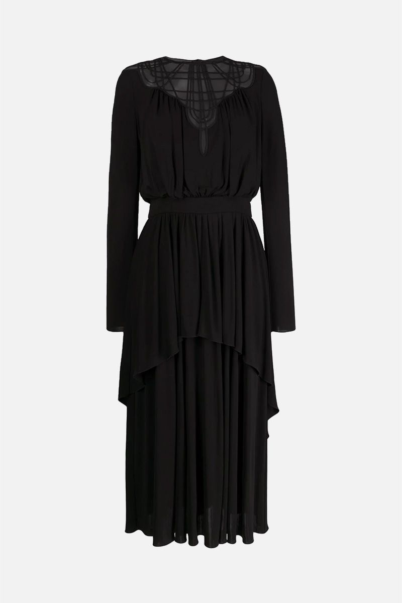 ALBERTA FERRETTI: lace insert crepe midi dress Color Black_1