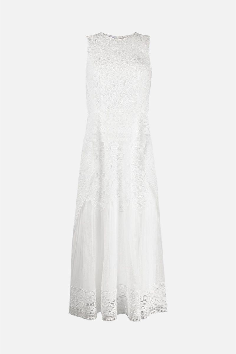ALBERTA FERRETTI: macramè lace sleeveless dress Color White_1