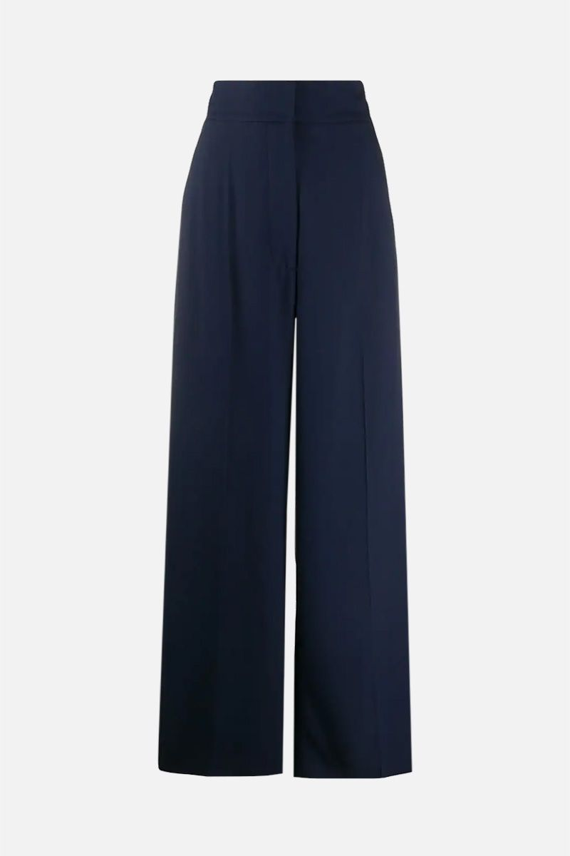 ALBERTA FERRETTI: crepe wide-leg pants Color Blue_1