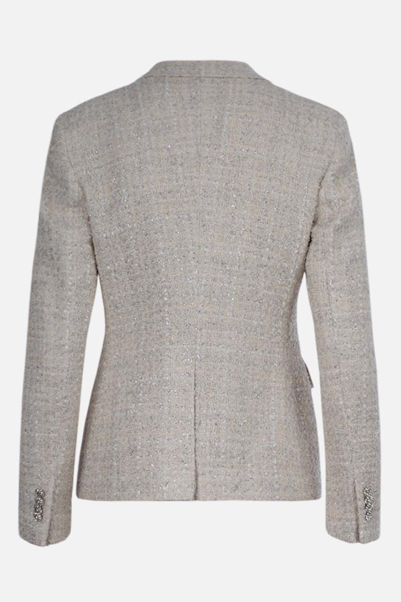 TAGLIATORE: double-breasted tweed jacket Color White_2