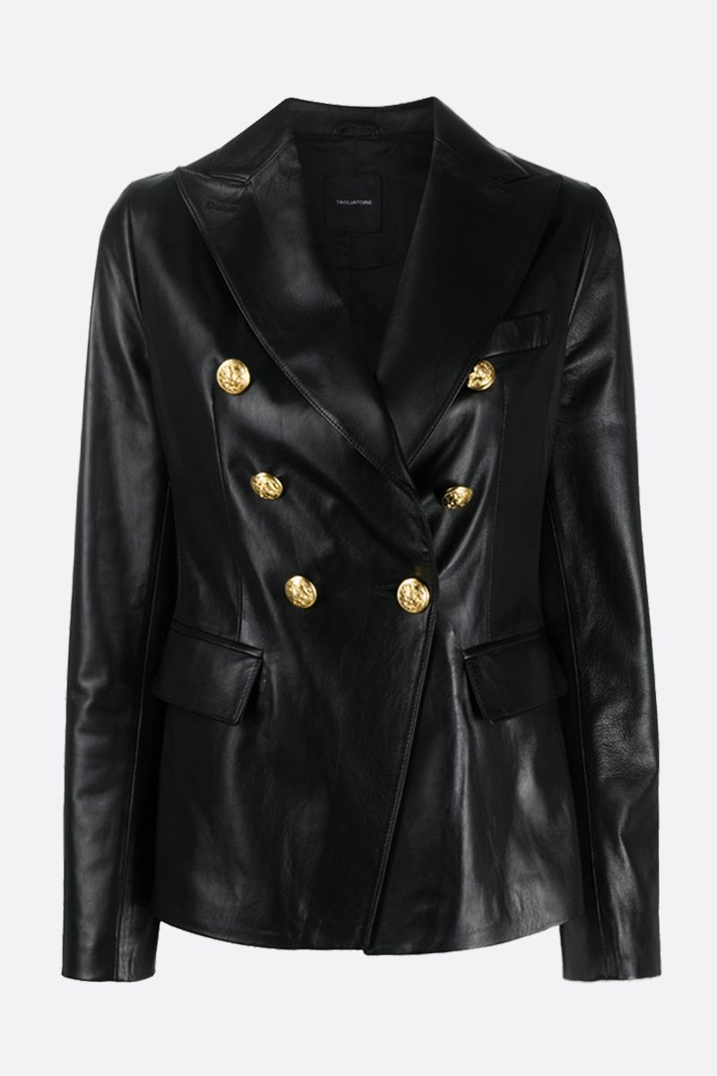 TAGLIATORE: Lizzie soft nappa double-breasted jacket Color Black_1