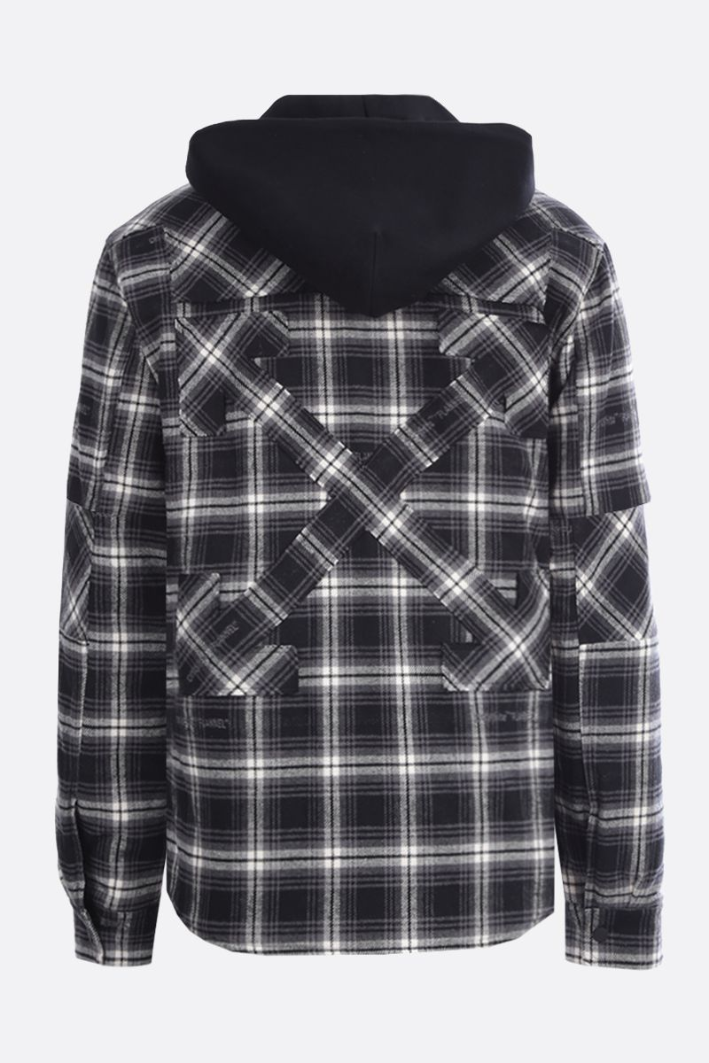 OFF WHITE: check flannel padded overshirt Color Black_2