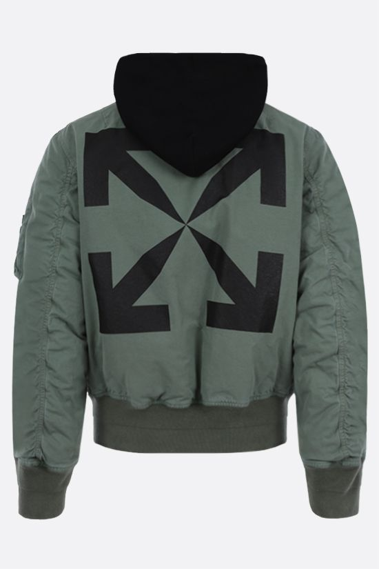OFF WHITE: Arrow cotton padded bomber jacket Color Green_2