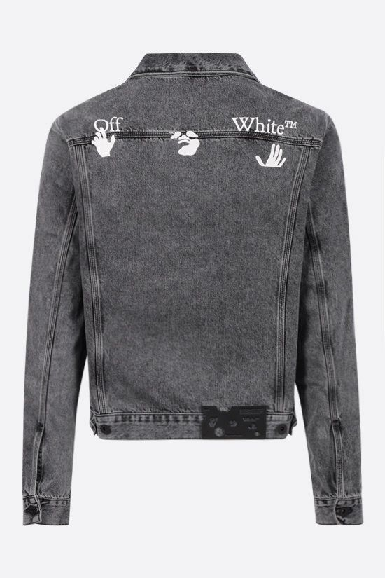 OFF WHITE: logo print denim jacket Color Grey_2