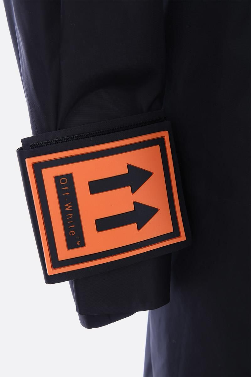 OFF WHITE: logo patch nylon windbraker Color Black_5