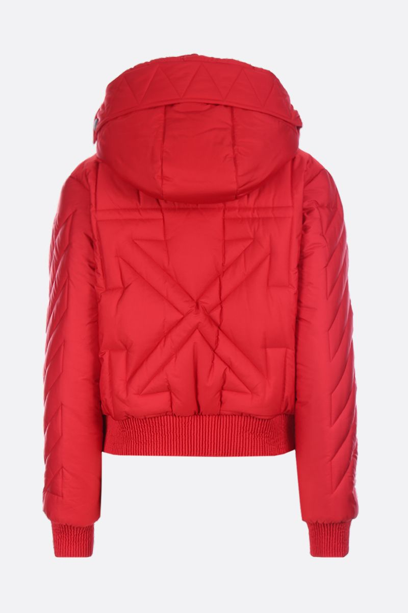 OFF WHITE: logo patch nylon padded jacket Color Red_2