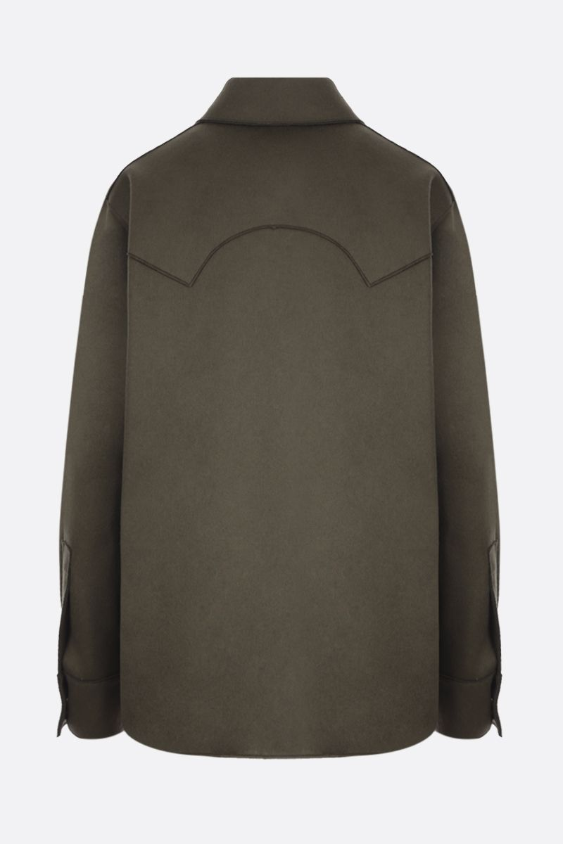 OFF WHITE: Off embroidered wool blend boxy shirt Color Green_2