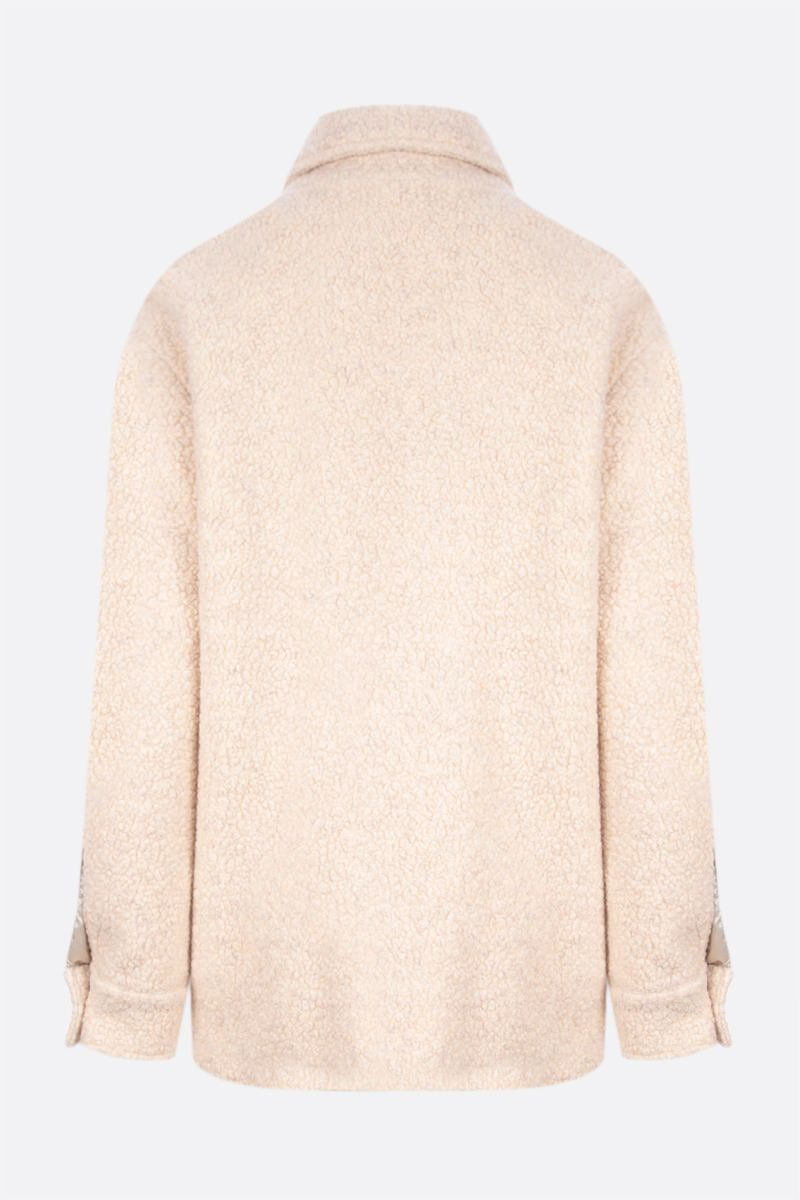 OFF WHITE: Teddy wool blend overshirt Color Neutral_2