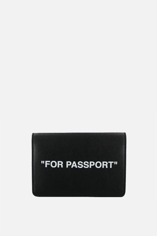 OFF WHITE: Quote smooth leather passport holder Color Black_1