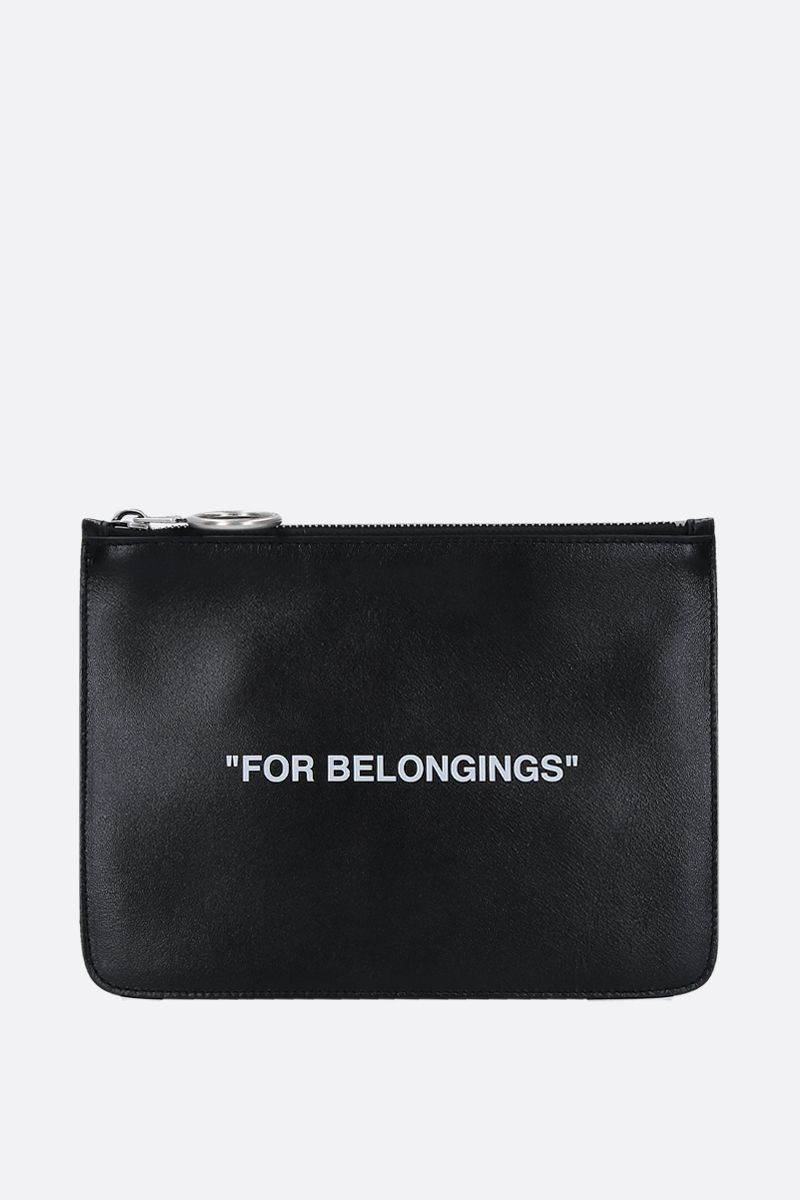 OFF WHITE: Quote pouch in smooth leather Color Black_1