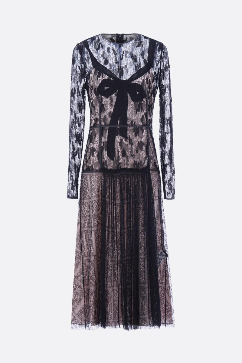 BOTTEGA VENETA: lace midi dress with pleated hem Color Multicolor_1
