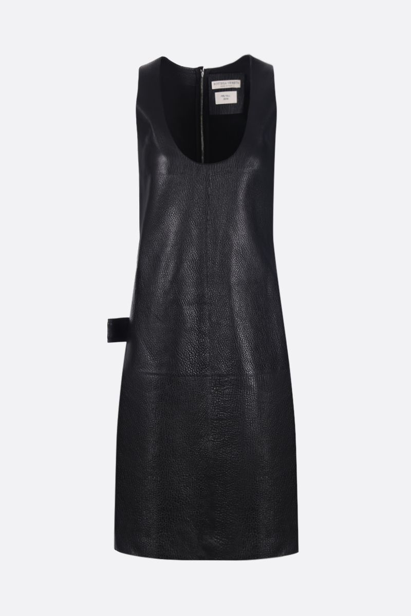 BOTTEGA VENETA: grained leather midi dress Color Black_1