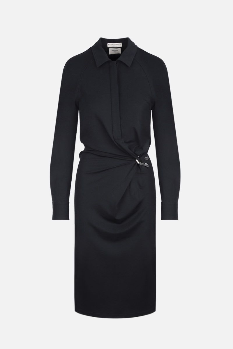 BOTTEGA VENETA: jersey crepe shirt dress Color Black_1