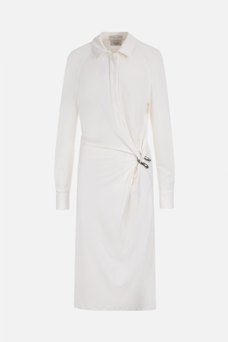 BOTTEGA VENETA: jersey crepe shirt dress Color White_1