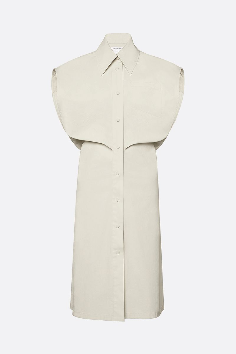 BOTTEGA VENETA: coated canvas shirt dress Color White_1