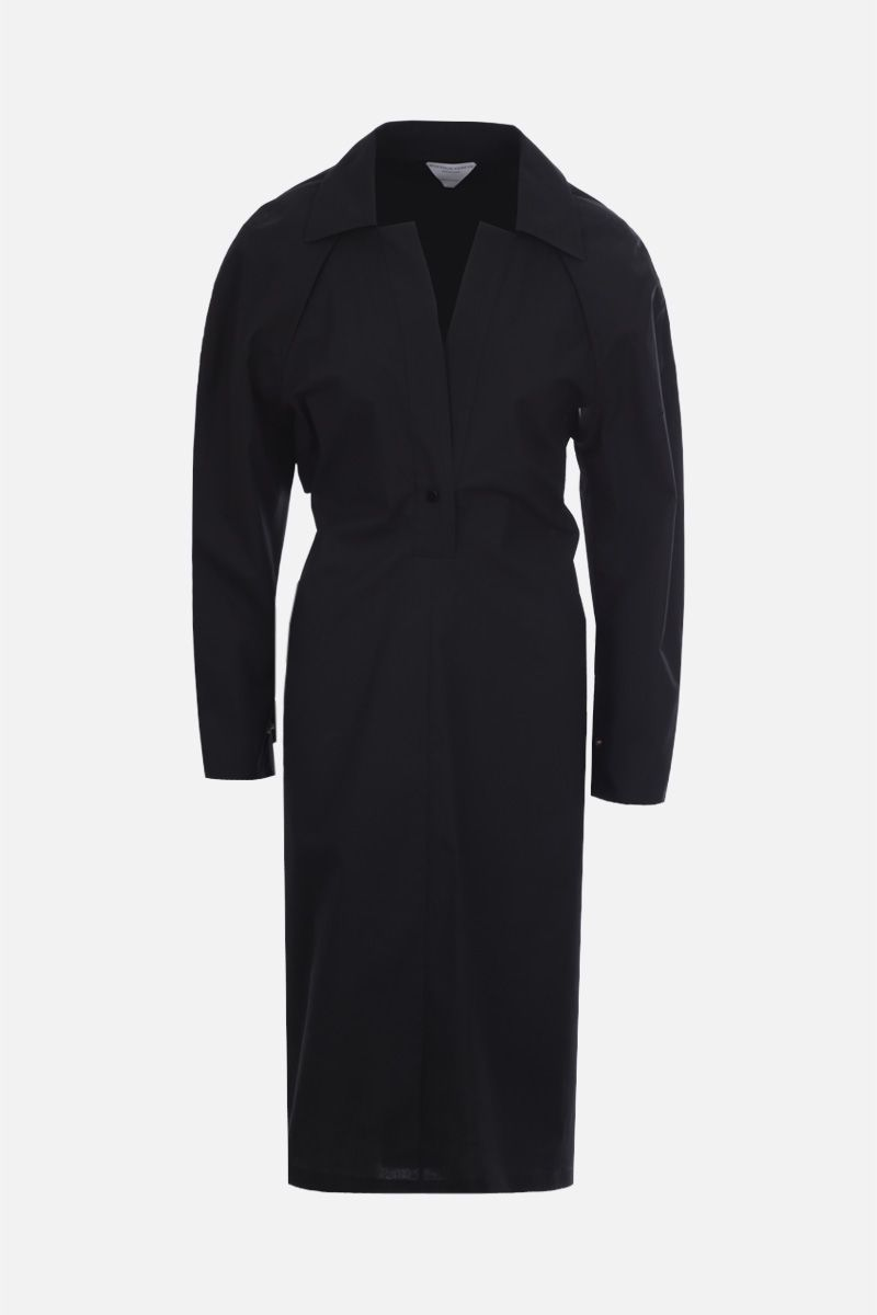 BOTTEGA VENETA: cut-out detailed technical cotton midi dress_1