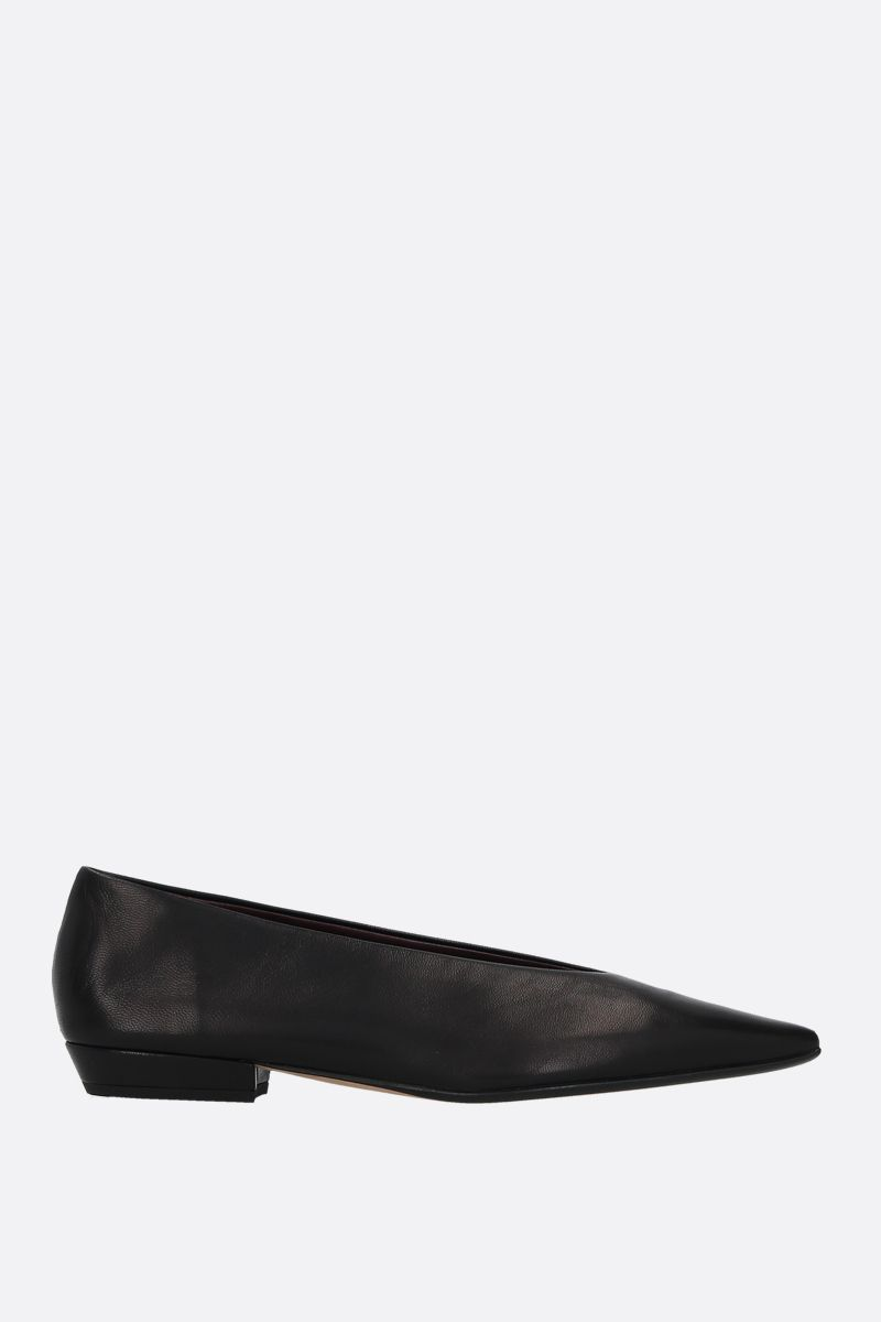 BOTTEGA VENETA: Almond soft nappa ballerinas Color Black_1