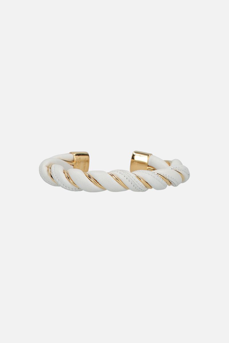 BOTTEGA VENETA: silver and nappa cuff bracelet Color White_1