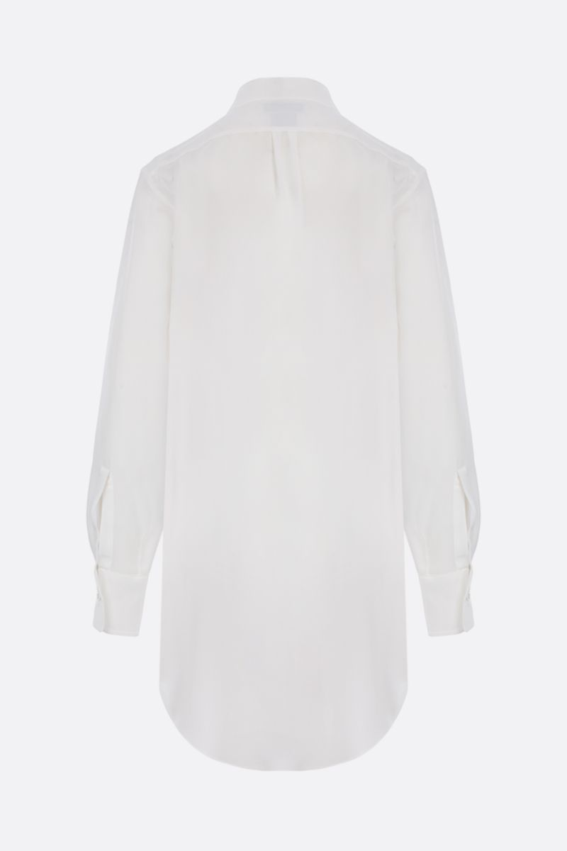 BOTTEGA VENETA: padded quilting-detailed crepe de chine shirt Color White_3