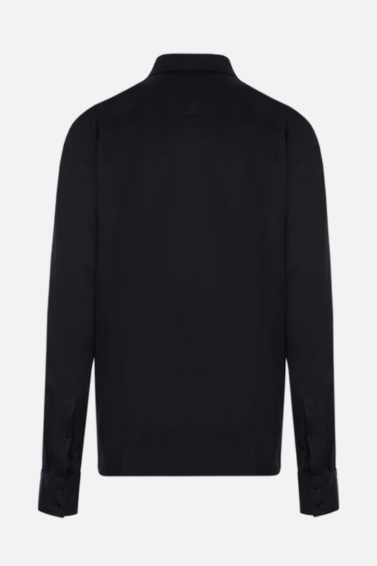 BOTTEGA VENETA: bib-detailed stretch satin shirt Color Black_2