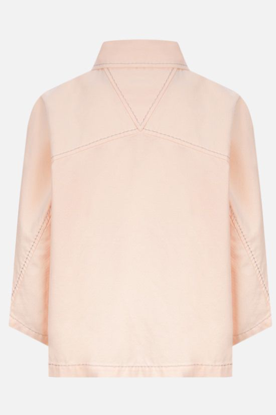 BOTTEGA VENETA: twill cropped short-sleeved shirt Color Neutral_2
