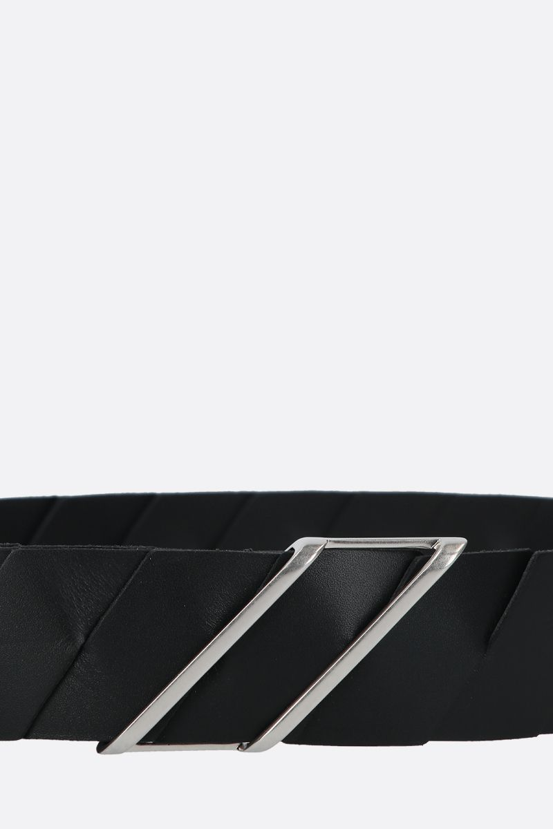 BOTTEGA VENETA: Intrecciato leather belt Color Black_3