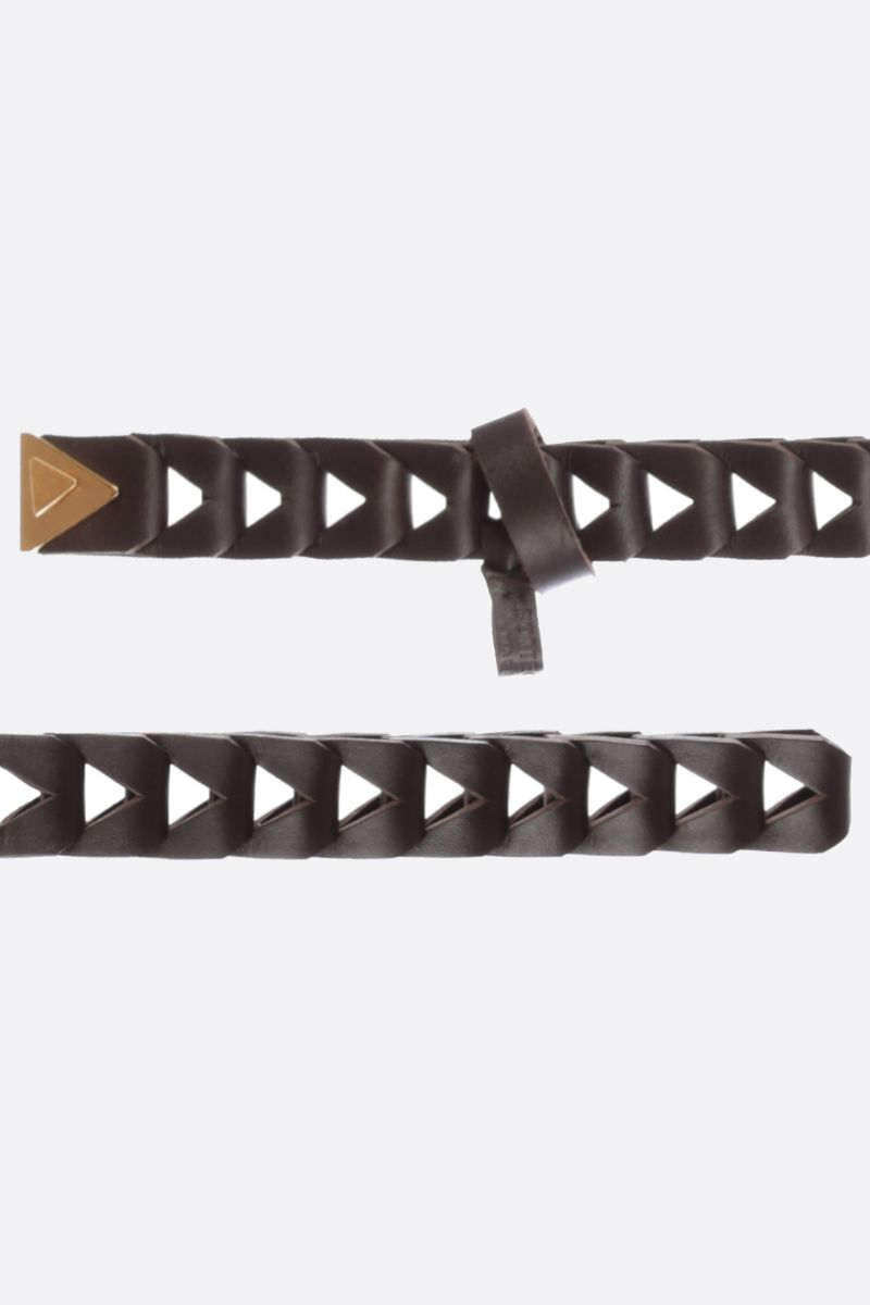BOTTEGA VENETA: cut-out detailed smooth leather belt Color Brown_2