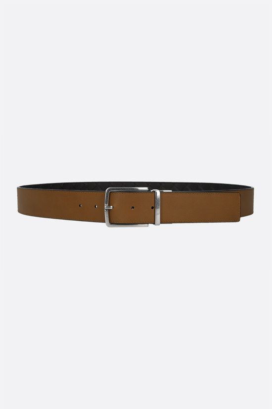 BOTTEGA VENETA: reversible Intrecciato VN and smooth leather belt Color Brown_2