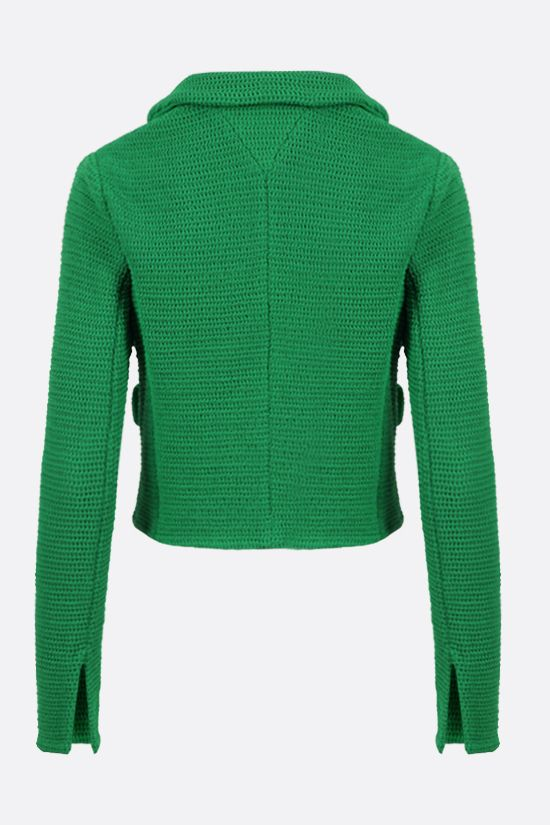 BOTTEGA VENETA: single-breasted compact cotton mesh jacket Color Green_2