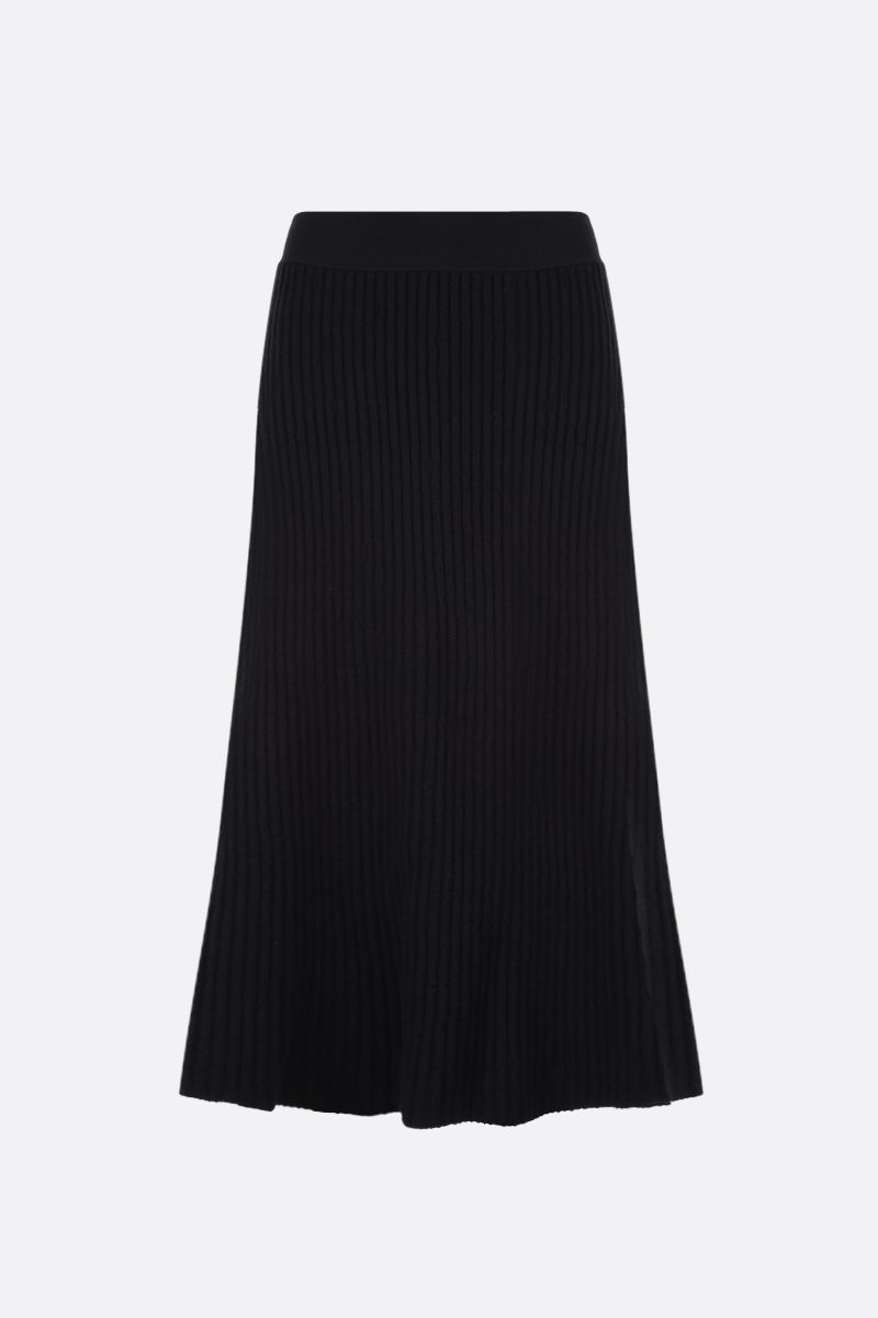 BOTTEGA VENETA: ribbed wool blend A-line skirt Color Black_1