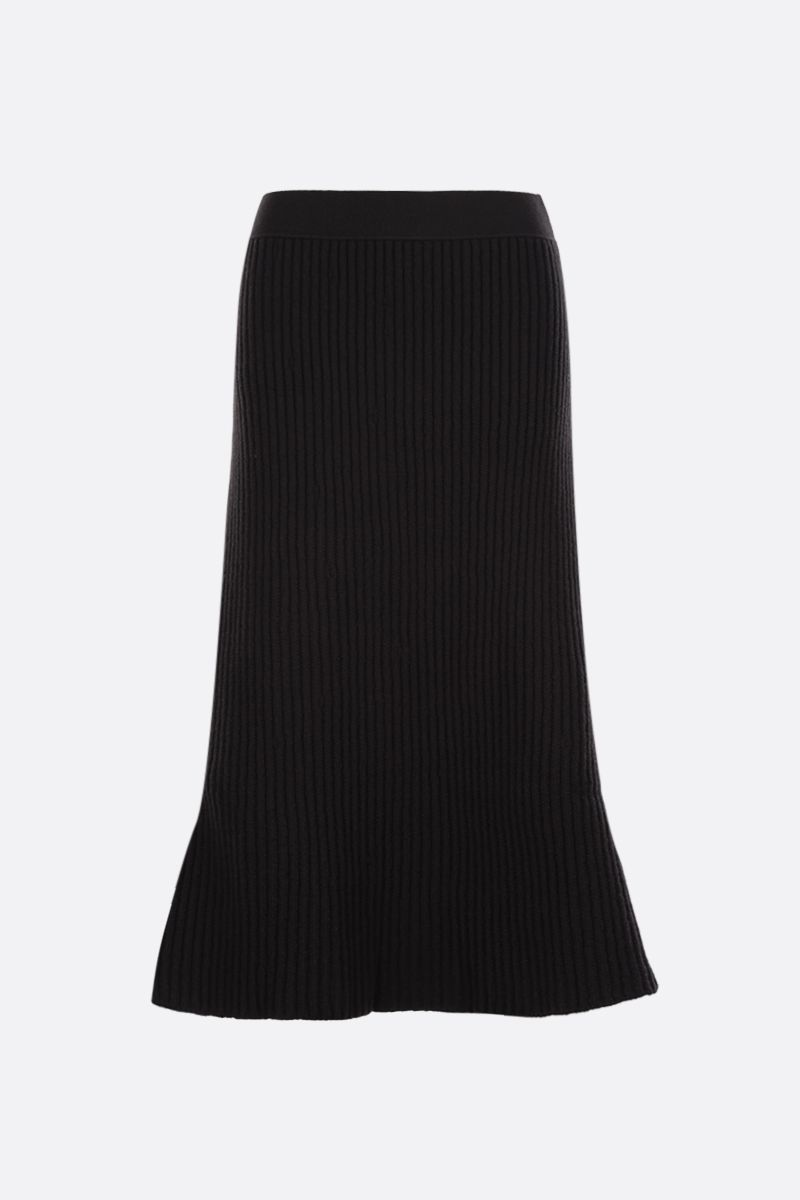 BOTTEGA VENETA: ribbed wool blend A-line skirt Color Brown_1
