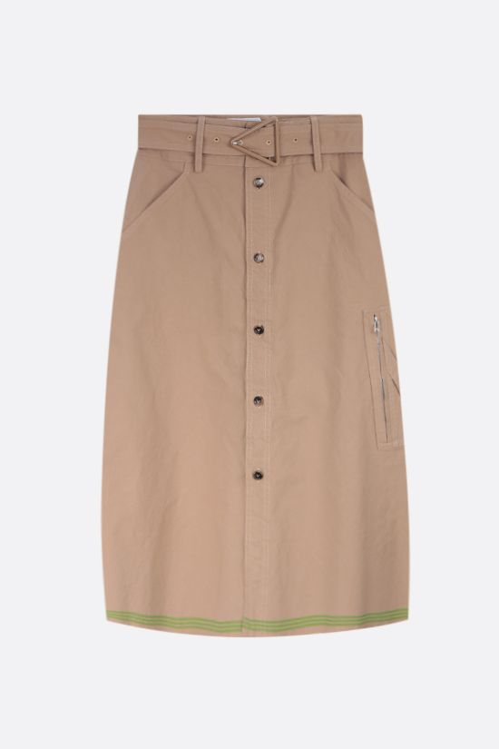 BOTTEGA VENETA: stripe-detailed cotton midi skirt Color Brown_1