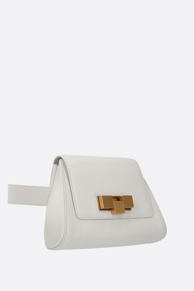 BOTTEGA VENETA: textured leather belt bag Color White_2