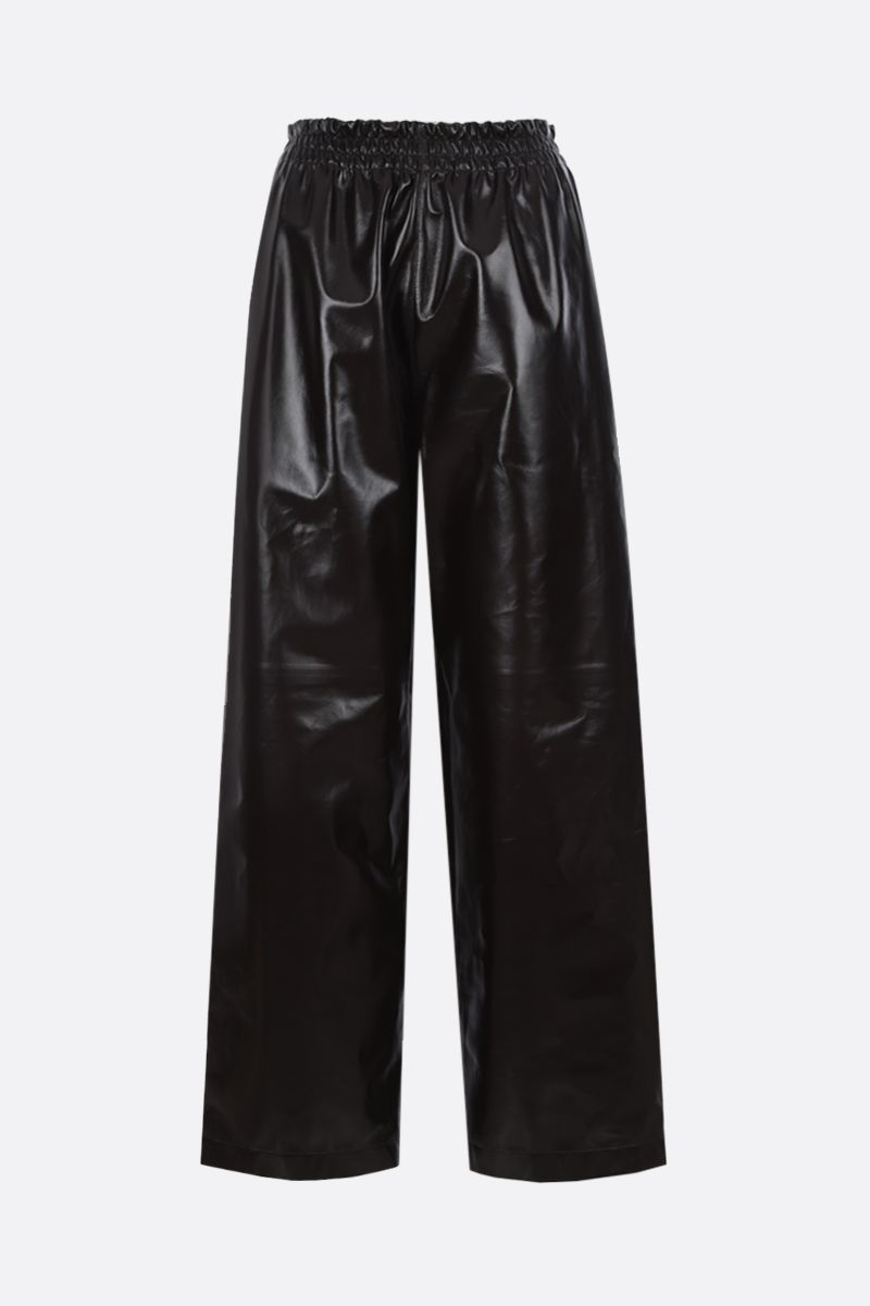 BOTTEGA VENETA: shiny leather wide-leg pants Color Brown_1