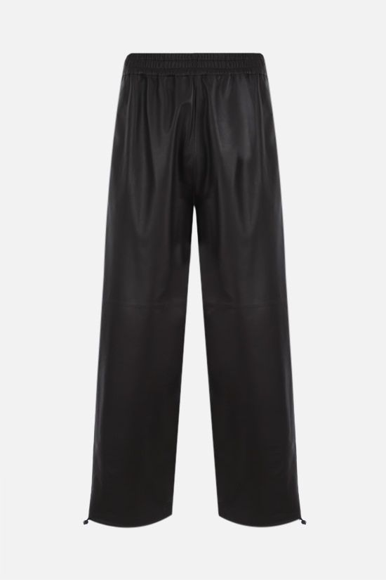 BOTTEGA VENETA: matte leather joggers Color Brown_1
